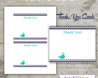 INSTANT DOWNLOAD - Thank You Cards - BLANK Nautical Whale Printable