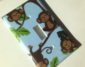 Monkey Light Switch Plate Cover/ Blue Silly Monkeys Single Light Switch Plate Cover/ Boy Bedroom Decor/ Nursery Decor
