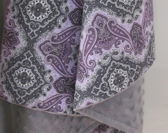 "Girl Minky Blanket  28"" x 34"" // 34"" x 45"" - Gray and Purple cotton fabric with a minky lining"