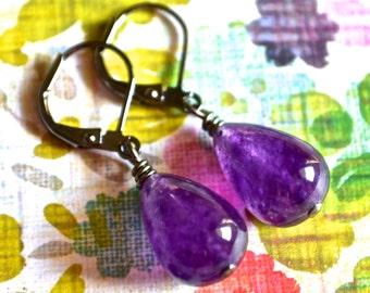 Amethyst Gemstone Teardrops . Earrings . Gunmetal Leverbacks