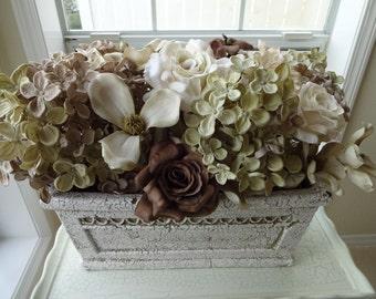 Silk Flower Floral Arrangement In Ceramic Bella Casa Floral Container   Elegant Floral Arrangement  Home Decor