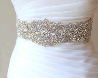 Bridal beaded luxury wide crystal sash. Wedding couture rhinestone belt.  VINTAGE CRYSTAL
