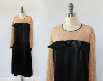 1920s Dress / 20s Lace and Satin Flapper Dress / Statement Bow