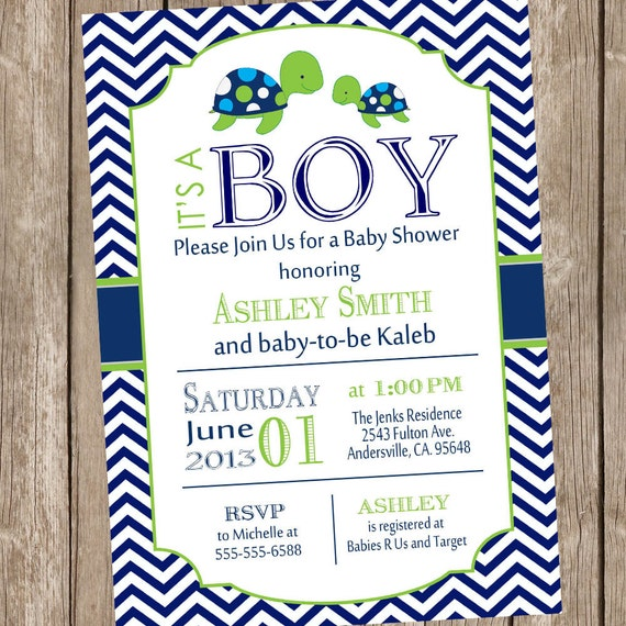 sea turtle baby shower invitation navy and lime green chevron