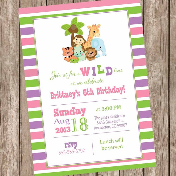 Safari birthday invitation jungle invitation girls safari birthday