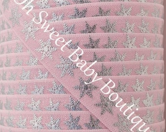 Fold Over Elastic 5 Yards Pearl Pink Silver Foil Snowflakes