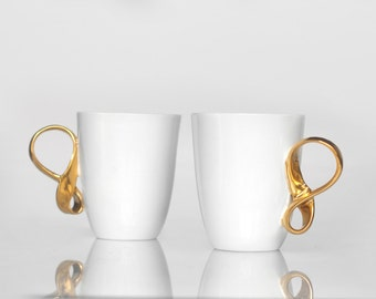 MOBIUS cups, set of two, white and gold china mugs for coffee or tea handmade by ENDE