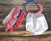 Body onesie and ruffled diaper combo patriotic theme, girl 4th of july outfit, baby girl white navy and red top, newborn RWB toddlers set
