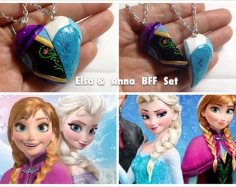 Disney Frozen inspired Elsa Anna Heart Necklace / Sister / Best Friend Necklace Set / Keychain /Brooch / Friendship jewelry / Made to order