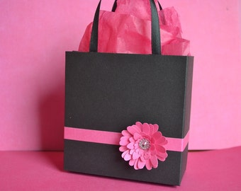 Pink And Black And White Polka Dot Party Favor Gift Bag