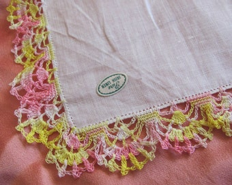Vintage Solid White with Pink Yellow Crocheted Edge Cotton Hankie - Unused