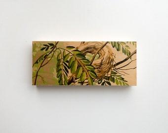 """Paint by Number Large  6"""" x 14"""" Art Block 'Nesting Instinct' - bird nest, robin's egg, vintage art"""