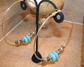 European Style Large Hole Beaded Hoop Earrings in Turquoise Blue, Black & Silver Swirl Glass Beads and Silver Spacer Rings