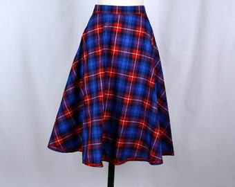 Blue and Red checked cirkel skirt 50s style *sale!!!*