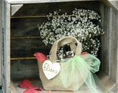 Autumn wedding flower girl bag small tiny personalization name country wedding light green color