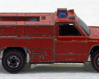 Vintage 1970s  Hot Wheels Metal Emergency Vehicle Fire FTruck Red Line Wheels Collectible Car