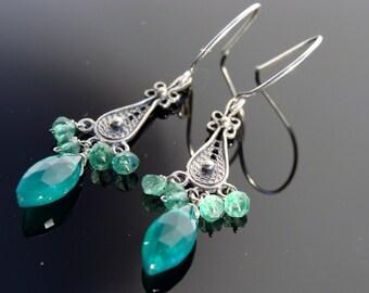 Green Onyx Chandeliers 925 Sterling Silver Earrings
