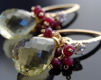 Lemon Quartz and Ruby 14 K Gold Filled Earrings