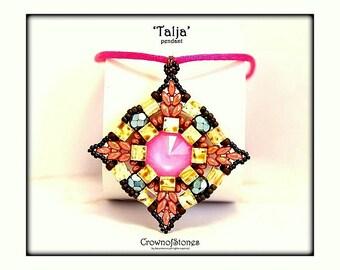 Bead pattern Pendant 'Talja' with Miyuki Tila beads, Superduo and Swarovski SPECIAL OFFER
