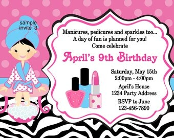 Spa Party Invitation - Manicure Pedicure Birthday - Spa Party - Zebra Print and Dots - JPEG File #3