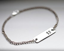 Unisex Silver Number Bracelet, Rectangle Plate Lowercase Date Bracelet, Mens Silver Date Bracelet, Men Name Bracelet, Number Tag Bracelet