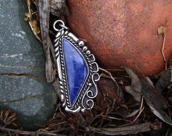 Native American Inspired Sodalite Sterling Silver Pendant