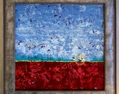 Framed 12x12 Abstract Landscape Painting...Modern Original Art...Acrylic on Archival Panel