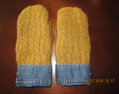 Mustard Yellow Blue Jeans Denim Felted Wool Mittens made from Recycled (Upcycled) Sweaters Fleece Lined Adult Medium Large
