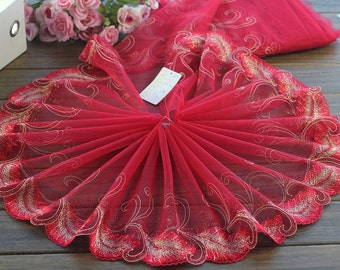 2 Yards Lace Trim Leather Embroidered Red Tulle Lace Trim 8.66 Inches Wide High Quality