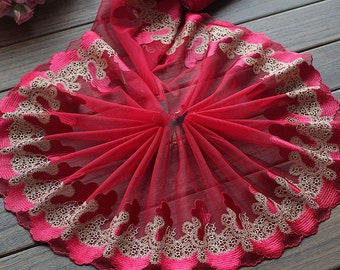2 Yards Lace Trim Embroidered Red Tulle Lace Trim 7.87 Inches Wide High Quality