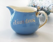 "Antique french pitcher water, lavender blue and goldy, french tag, Villeroy & Boch ""Nous Deux"""