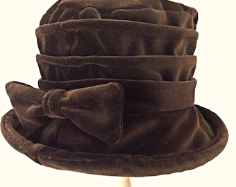 Chocolate velvet cloche hat OOAK