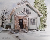 8x10 Custom Home Portrait Watercolor Illustration