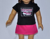 Black Monster High Top Pink Skirt and Handmade Crocheted Hat and Flower Fits American Girl Doll