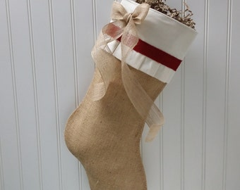 Shabby Chic Christmas Stocking in Burlap