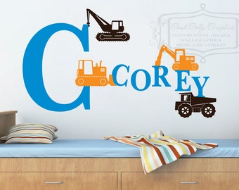 Construction wall decal - personalized monogram name decal - truck decal - child room decor