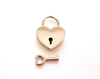 Small Heart Lock and Key / heart padlock & heart key wedding favors key favors