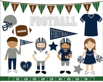 Blue and silver football clip art images, sports clipart, football vector, royalty free clip art- Instant Download