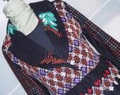 Reserved for Melissa- Fierce Black Wool Jacket-Ethnic Avant Boho L 38-40 inch