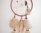 SALE- Native American Dream Catcher- Beige Leather Sinew Feathers Beads