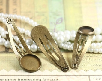 10pcs 40mm Antiqued Bronze Color   Hair  Clip On with 14mm Round Edge Setting 07165