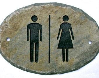SLATE Unisex Restroom Bathroom Sign / Stone / Handicap Door / Women Men / #Combo