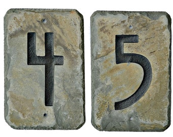 Stone American Craftsman Mission House Address numbers / Slate #E-9