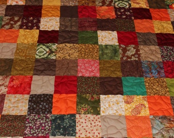 Custom Made Quilt ~ Earth Tones Patchwork FULL SIZE QUILT - Everything Supplied!!!