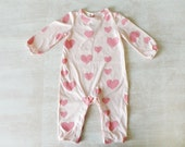 Baby girl Jumpsuit, Little girl Pink outfit, All in One Romper suit ,One piece Pink outfit for babies, Baby Girl Winter Sleepwear