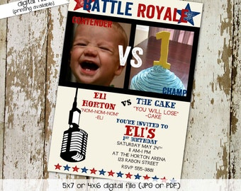 battle royale birthday party invitation retirement boxing ring cake eating couples family bash cupcake (item 282) shabby chic invitations
