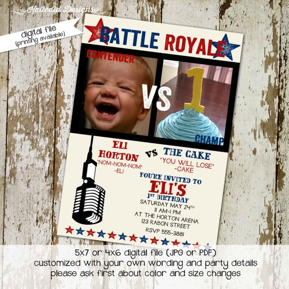 little boy 1st birthday battle royale invitation retirement party boxing ring cake eating family party co-ed party invite 282 Katiedid Cards