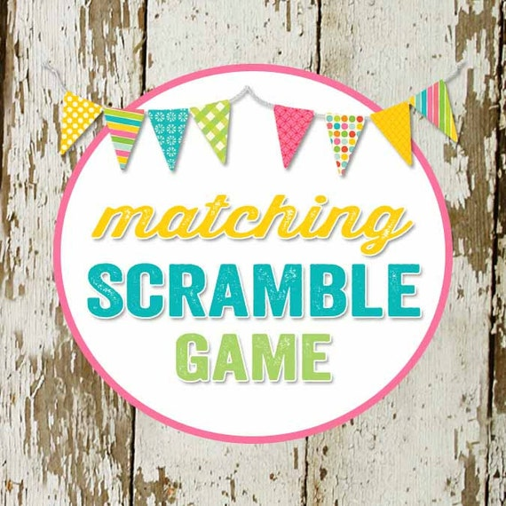 SCRAMBLE GAME baby words to match any invitation for baby shower or bridal shower, digital, DIY printable file
