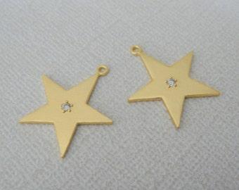 Matte Gold Crystal Medium Star Pendant,  Dangle Connectors, Earring Findings, Star Charm, 2 pc , U816914