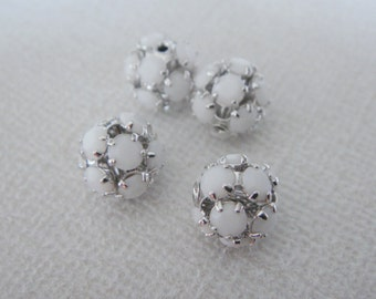 Silver white bead, small bead Connector, Plated Stone Connector, Plain white Bead, 2 pc, U7486